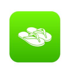 Slipper icon green vector