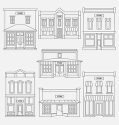 Store shop front window buildings black icon set vector