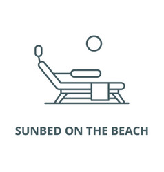 sunbed on beach line icon linear vector image