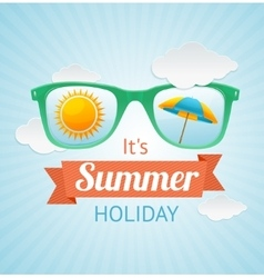 sunglasses summer card background vector image vector image