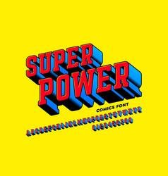 super power comics style font alphabet letters vector image