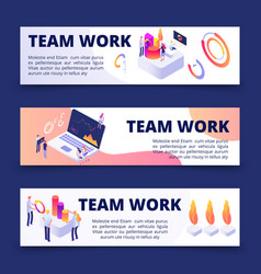 team work banners template with isometric vector image