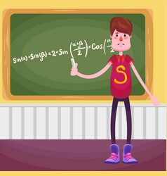the schoolboy student stands at the blackboard vector image
