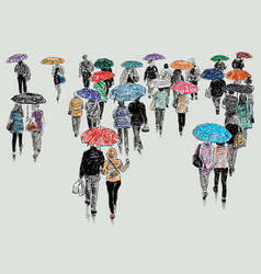 Townspeople in rain vector