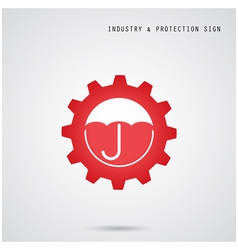Umbrella sign and gear icon vector image