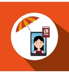 umbrella woman camera technology vector image