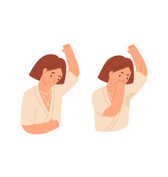 Unhappy woman with smelly sweaty armpits and sweat vector