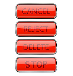 web buttons shiny 3d red glass buttons with metal vector image