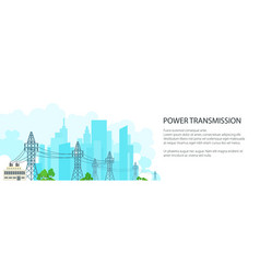 White banner of high voltage power lines vector