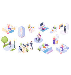 Woman daily life activity home and work isometric vector