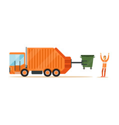 worker in orange uniform loading recycle bin into vector image