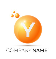 y letter splash orange dots and circle bubble vector image