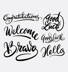 Good luck and bravo hand written typography vector