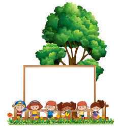 happy children and blank board vector image