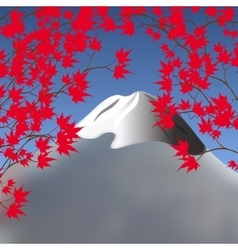 Red maple leaves on branches on both sides vector image