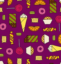 Seamless texture with sweets vector image