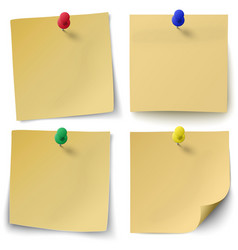 Set of yellow sticky notes with push-pins vector image vector image