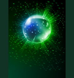 sparkling disco ball on green light burst vector image