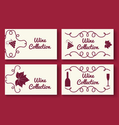 wine collection card template set vector image vector image