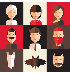 Set of avatars of women men animal vector image