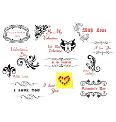 Valentines Day holiday design elements vector image