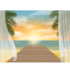 View of the sea beach on sunset vector image vector image