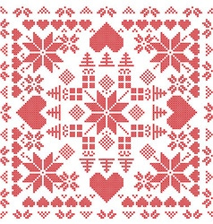Xmas pattern in square shape in red vector image vector image
