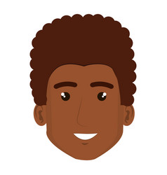 black young man head avatar character vector image