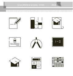 education and school outline icon collection vector image vector image