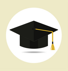 graduation cap in flat style vector image