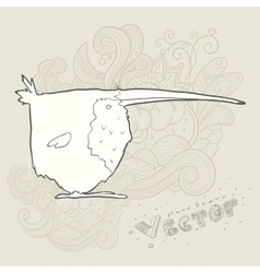 hand drawn retro cartoon bird vector image