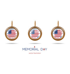medallions set on the chain for memorial day vector image vector image