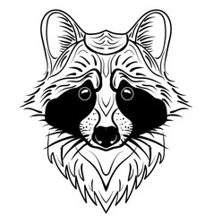 sketch raccoon face hand drawn doodle vector image