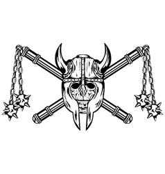 Skull in helmet and crossed maces vector image vector image
