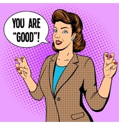 Woman shows quote gesture pop art vector image vector image