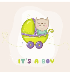 Cute Baby Cat in a Carriage - Baby Shower Card vector image vector image