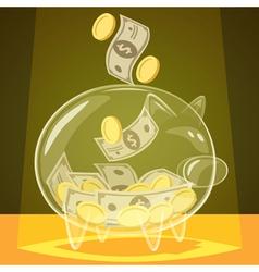 Glass piggy bank vector image vector image