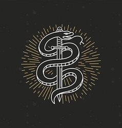 linear monochrome tattoo drawing vector image vector image