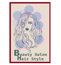 long hair style icon logo women face on blur vector image