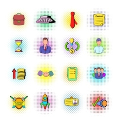 Office and business icons comics style vector image vector image