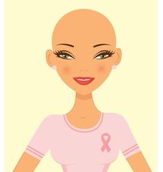Pink ribbon girl vector image