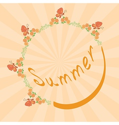 summer background with floral frame vector image vector image