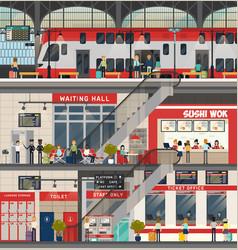 train or locomotive station metro or subway vector image