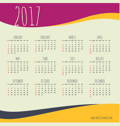 2017 happy new year calendar with colorful waves vector