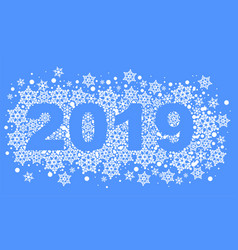 2019 happy new year text number of snowflakes vector