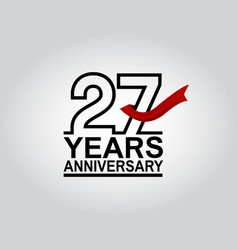 27 years anniversary logotype with black outline vector