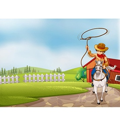 A cowboy holding a rope riding on a horse vector