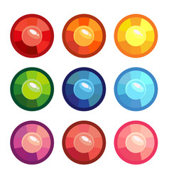 A set of colored round gems vector