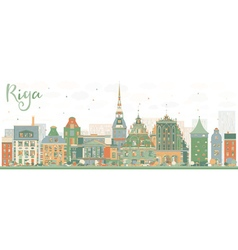 Abstract riga skyline with color landmarks vector