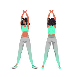 African american woman doing yoga fitness vector